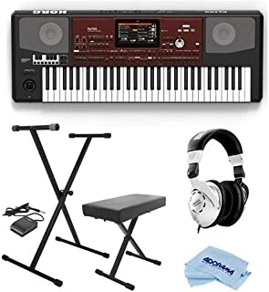 Korg Pa700 Oriental 61 Keys Velocity Sensitive Pro Arranger Keyboard, Physical Quarter Tone SubScale Keypad - Bundle With On-Stage Keyboard Stand with Sustain Pedal, Behringer HP Studio Headphones