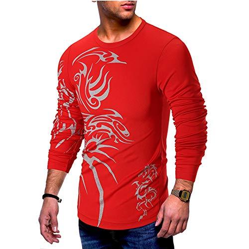 shenme Básicas de Hombre elástico Informal Camisetas Impresión del Ajustado de Manga Larga suéter Suaves y Ligeros Tees (Color : Red, Size : Large)