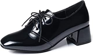 GIY Women's Lace Up Oxford Loafer Shoes Patent Leather Square Toe Mid Heel Brogues Dress Oxfords Pumps
