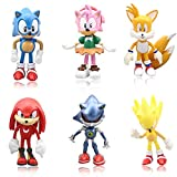 LEBERY Sonic the Hedgehog Cake Toppers- 6pcs Sonic Birthday Cake Topper Cupcake Topper, Children Cartoon Characters Figures Toy, Sonic Cake Decoration for Kids Birthday Baby Shower Sonic Theme Party