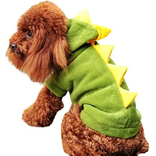 Longra Vestiti per Cani Dinosauro Costume Bello Cane Gatto Vestiti Maglia Caldo Maglieria Gilet Giacca Cappuccio Cappotto Cane Abbigliamento Puppy Sweatshirt