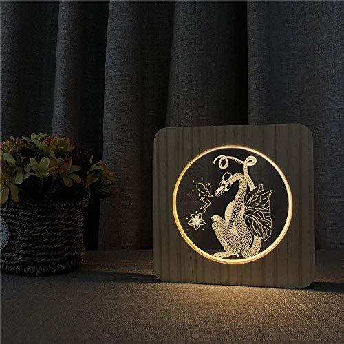 Scherenschnitt Drache Holz 3D LED Arylic Nacht Lampe Tisch Lichtschalter Control Carving Lampe für Geburtstagsgeschenk Schiff