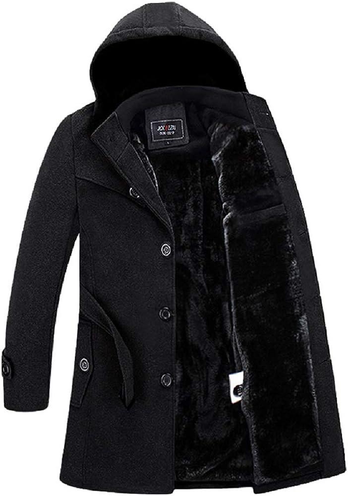 Men Winter Wool Coat Men's New Solid Color Simple Blends Woolen Pea Coat Ellis
