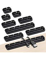 URAQT Kabelclips, Kabelhouder, 9 Stuks Multifunctionele Kabelgeleiding, Kabelorganizer, Kabel en Elektrische Ladder, Organizer voor Bureau, USB Oplaadkabel, Audiokabel, Netsnoer, Opladers, Zwart