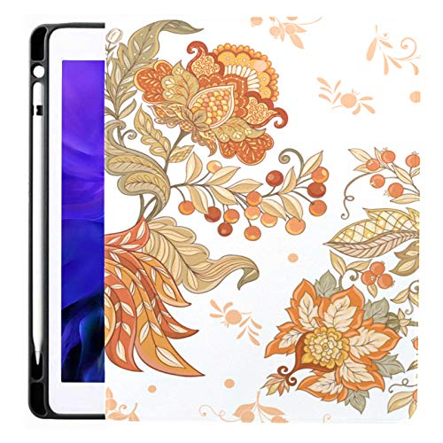 Ipad Pro 12.9 Case 2020 & 2018 with Pencil Holder Fantasy Floral Jacobean Embroidery Smart Cover Ipad Case, Supports 2nd Gen Pencil Charging,case for 2020 Ipad Pro 12.9 Cover with Auto Sleep/Wake
