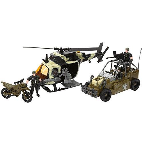 KandyToys Misión de Combate Conjunto de misión Militar: Incluye helicóptero, vehículos Militares y Accesorios