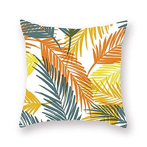 XINWO 1PCS Plant Cushion Cover Leaf Flower Sofa Pillow Cover Car Cushion Cover Yellow Series Pillow Cover 45x45cm