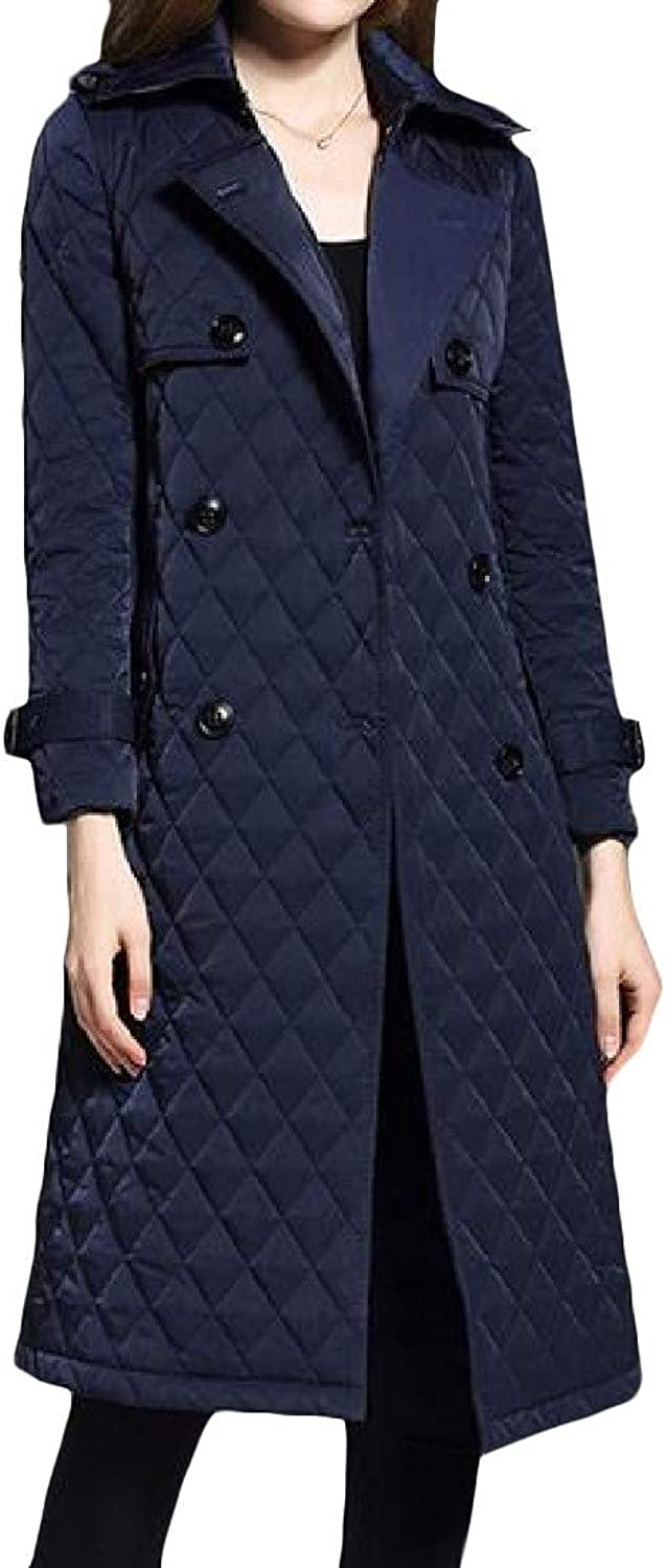 Joe Wenko Womens Stylish Quilted Double Breasted Slim Fit Parka Jackets Coat