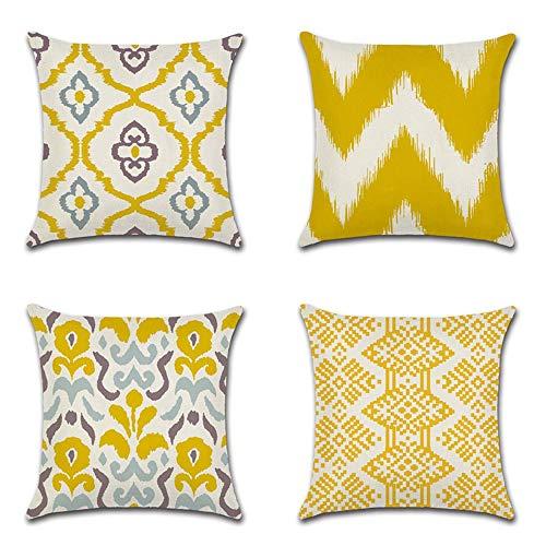 4er Set Leinen zierkissenbezüge 45x45 cm,Liniengeometrie Muster Zierkissenhülle Dekorative Kissenbezug Für Sofa Büro