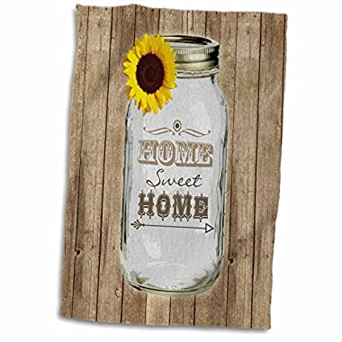 3D Rose Country Rustic Mason Jar with Sunflower Sweet Home Towel, 15  x 22 , Multicolor