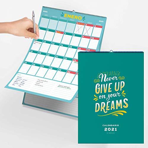 Calendario de pared 2021 con fiestas nacionales. Planificador organizador de uso familiar y escolar. Deja atrás el 2020. Organiza de manera mensual o semanal.