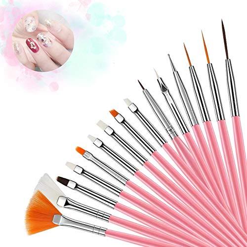Nail Art Brush,Nail Art Pintura Dibujo línea Herramienta, 15 Pcs Decoración de Uñas Diseño, Pinceles Pintauñas UV Gel Juego de Herramientaspara Decoración de Uñas, Juego de Color Rosa