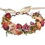 Beeria - Diademas de flores de heno vintage para niñas y mujeres