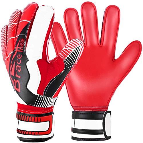 Brace Master Torwarthandschuhe mit Fingerschutz,Protect & Super-Grip 3+3MM Handflächen Fussball Torwarthandschuhe Kinder Herren & Erwachsene - Diverse Größe und Farben (Rot-Weiss, 11)