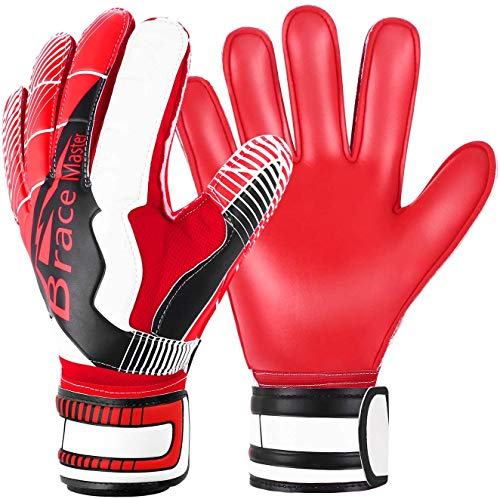 Brace Master Goalie Goalkeeper Gloves with Strong Grip and Finger Spines Protection, White Latex 3+3MM Soccer Keeper Gloves for Men and Women, Training and Match, Indoor and Outdoor (Red-White 9)