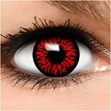 FUNZERA Lentillas de Colores Red Demon + recipiente para lentes de contacto, sin dioptrías pack de 2 unidades - cómodas y perfectas para Halloween, Carnaval, sin corregir