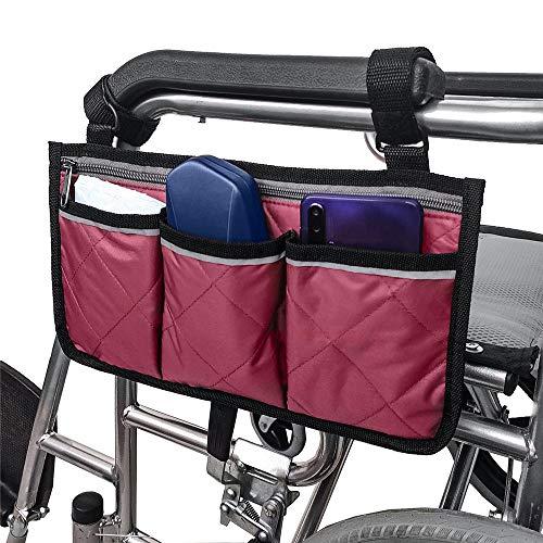 Compact Carry Hands Free Front- Oder Seitentasche, Rollstuhl Und Walker Seitentasche Für Elektrischen Oder Manuellen Scooters, Rollatoren,Rot