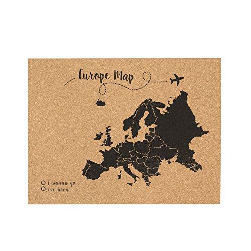Decowood - Mapa de Corcho Europa, Pequeño, para Marcar Tus Viajes y Colgar en la Pared, Negro - 60x45cm