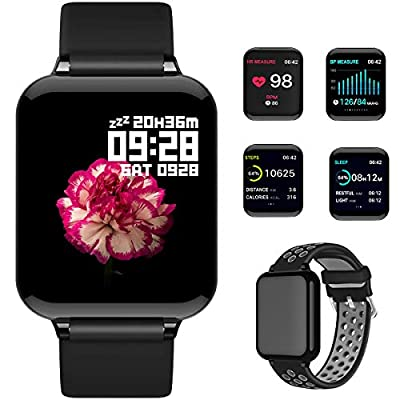 feifuns Smart Watch, Fitness Tracker Activity Tracker with Heart Rate Monitor 1.3 Color Screen with Blood Pressure Sleep Monitor Step Calorie Counter Waterproof Band for Men Women Kids (Black+Band)