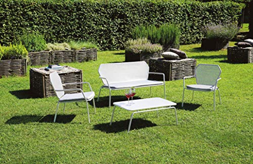 Grupo maruccia Salón para Exteriores de Hierro Perforado Blanco con Cojines Sofá para Hoteles, Bares y Restaurantes