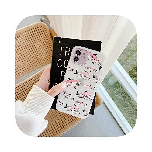 Carcasa para iPhone 12, diseño de delfín de tiburón, diseño de dibujos animados para iPhone XS 11 12 Pro Max X XR 7 8 Plus, silicona flexible translúcida, color negro