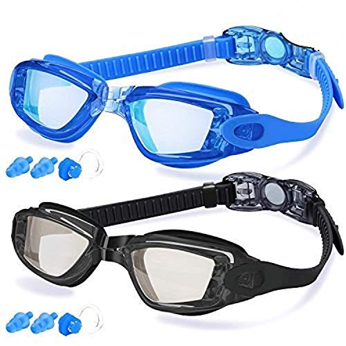Swim Goggles, Swimming Goggles for Men Adult Women Youth Kids & Child, No Leaking Anti Fog Protection Triathlon with Mirrored & Waterproof Free Protection Case Clear Lenses, 2 Pack