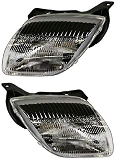 Headlight Compatible with 1995-2002 Pontiac Sunfire Pair with Bulbs Clear Lens