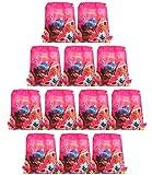 Qemsele Bolsa Mochilas Bolsas de cumpleañoscordón Dibujos Animados Mochila Bolsas para cumpleaños niños y Adultos la Fiesta favorece la Bolsa, Rellenos Bolsas Fiesta 12Pcs (Ladybug, W10 * H12)