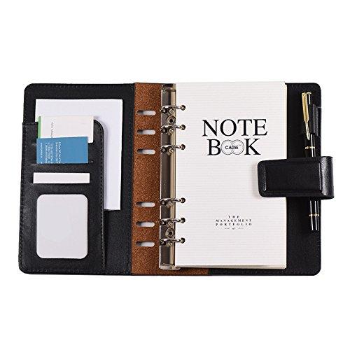 Aibecy Notatnik na luźne arkusze w formacie A6, 80, z osłoną magnetyczną z poliuretanu, teczki do pisania z miejscem na karty, uchwyt na długopisy, pamiętnik, terminarz, spiralny notatnik do szkoły, pracy, biura, artykuły piśmiennicze, kolor czarny