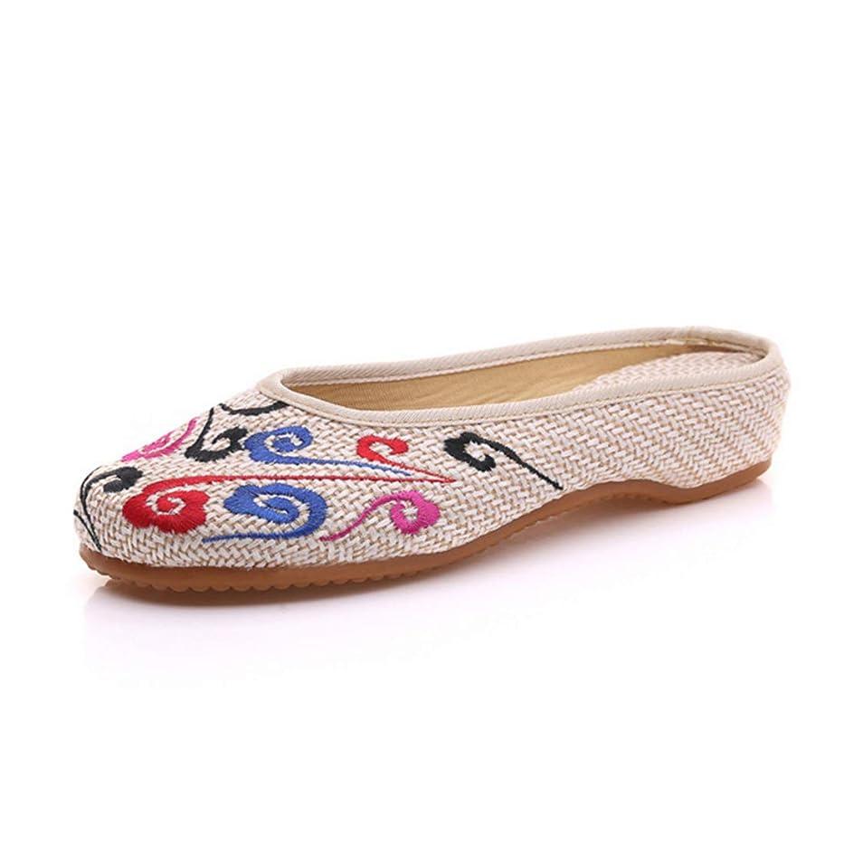 災難抑圧者噂[Huicai] 刺繍靴 婦人向け 快適 丸頭 カジュアル ウォーキングシューズ