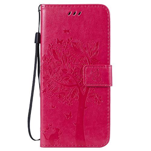 Jeewi Hülle für [Huawei P30 Pro] Hülle Handyhülle [Standfunktion] [Kartenfach] [Magnetverschluss] Tasche Etui Schutzhülle lederhülle klapphülle für Huawei P30Pro - JEKT021177 Rosa Rot