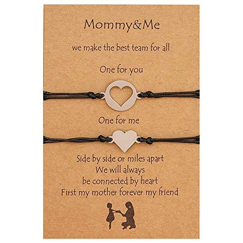 Juego de pulseras para mamá e hija para 2 Pinky Promise, mamá y yo, pulseras...