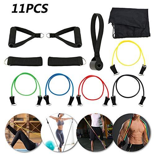 KEHUITONG - Juego de 11 cuerdas de tracción para ejercicios de fitness, bandas elásticas de látex, pedales, ejercicios, entrenamiento corporal, yoga