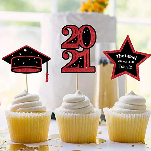 ORIENTAL CHERRY Graduation Decorations 2021 - 70 Pack Red and Black Grad Cupcake Toppers - Class of 2021 Party Supplies Cake Topper for Kindergarten Preschool High School College