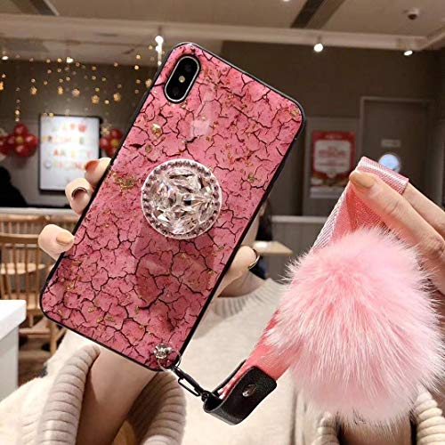 Homikon - Carcasa de silicona para iPhone XS Max, con purpurina brillante, soporte para anillo de diamante, amortiguador de golpes, carcasa trasera de silicona TPU