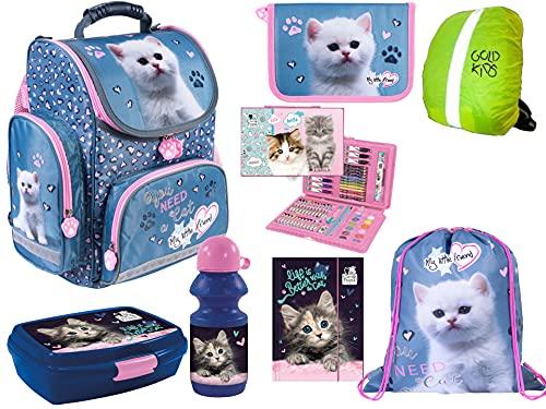 8-teiliges Schulranzenset My Little Friend Ranzen Schulranzen, Federmappe, Turnbeutel, Trinkflasche, Brotdose, Gummizugmappe, Malkoffer, Regenschutz Kinder Katze Pink Cat