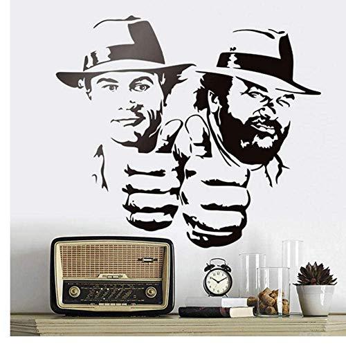 Bud Spencer Und Terence Hill Wandaufkleber Lächerlich Lustig Charakter Porträt Vinyl Aufkleber Klassische Filmfigur Wandbilder 48X42Cm