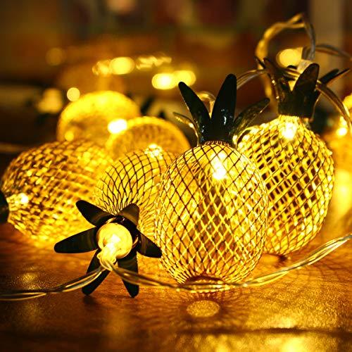 LED Lichterkette, Elfeland 20er 2,2m LED String Lights Ananas- Form Batteriebetrieben als Innen Beleuchtung für Party, Wohnungen, Weihnachten, Hochzeit, Beleuchtung Deko Warmweiß