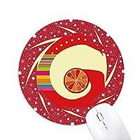 gのアルファベットのオレンジ色の果物は、かわいいパターン 円形滑りゴムの赤のホイールパッド
