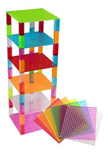 Pack de 6 bases con ladrillos separadores 2 x 2 - Construcción en forma de torre - Compatible con todas las marcas - 15,24 x 15,24 cm - Azul, transparente, verde, magenta, naranja y rojo