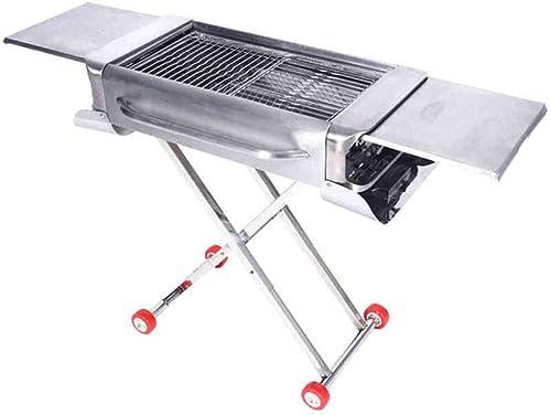 Barbecue- à roulettes Amovible en Acier Inoxydable de Luxe, 5 ou Plus