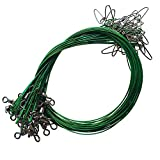 Fishing Leader Wire High Strength Steel Leaders Fishing Line with Swivels Snap Freshwater Saltwater (Green-30pcs)