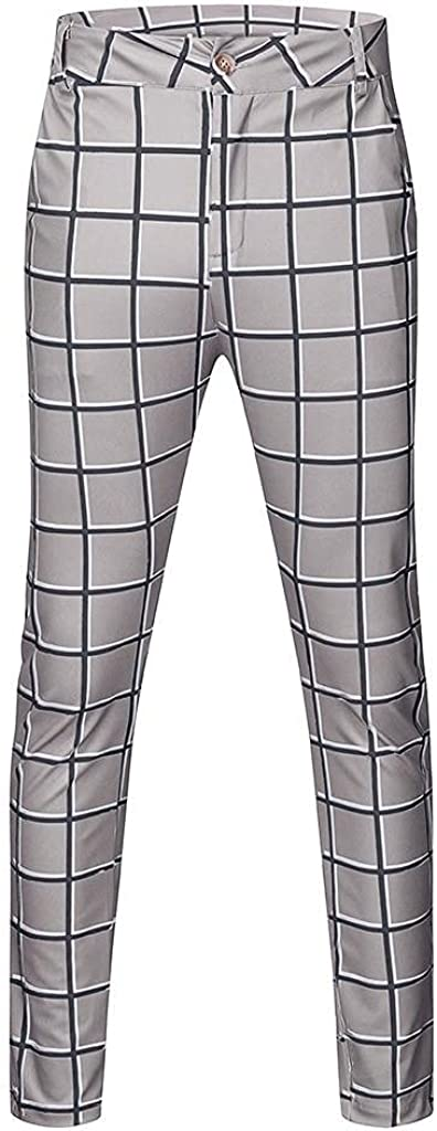 Men's Business Work Pants Casual Slim Fit Pants Plaid Print Zipper Long Pants Tapered Trousers with Pocket