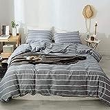 Lekesky King Duvet Cover Set Striped Comforter Cover with Zipper Closure Corner Ties, 3 Pcs Ultra Soft and Breathable Microfiber Bedding Sets Plus 2 Pillowshams, Grey
