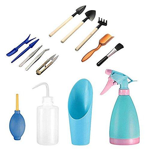 Mini herramientas de mano de jardinería(14 Pcs),Las suculentas herramienta de juego de herramientas de jardinería,Incluyendo las tijeras de podar,hervidores de agua y botellas de spray de pala, etc.