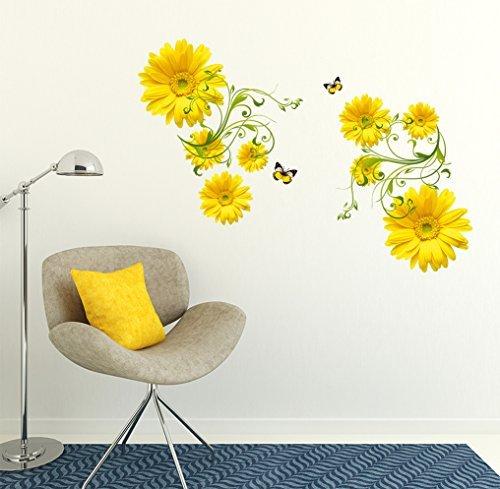 Generic Sataanreaper Presents-Wand-Aufkleber-Blumen-Gelb Daisy Mit Grünem Rebe-Wand-Kunst-Design Wohnzimmer-Büro-Dekor (Multicolor) # SR-030