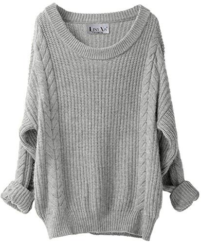 LINY XIN Women's Cashmere Oversized Loose Knitted Crew Neck Long Sleeve Winter Warm Wool Pullover Long Sweater Dresses Tops (Light Grey)