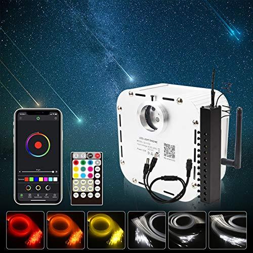 CHINLY Bluetooth Meteor 32W RGBW APLICACIÓN LED Fibra óptica Star Star Luces de techo Kit de aplicación mixta 1008pcs * 5m + 10 Fibra óptica + Cristales para el hogar / automóvil