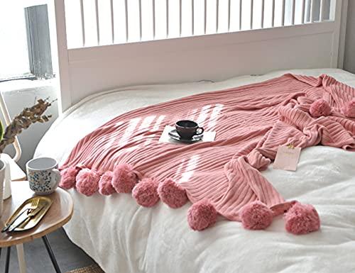 Manta de Verano, Linda Manta de Felpa Tejida para Siesta, Ultra Suave y cómoda (100 x 105 cm)