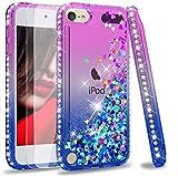 LeYi Funda iPod Touch 7 / 5 / 6 Silicona Purpurina Carcasa con [2-Unidades Cristal Vidrio Templado],Transparente Cristal Bumper Telefono Gel Fundas Case Cover para Movil iPod Touch 7 Azul/Púrpura